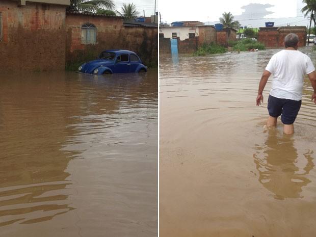 Guaratiba; chuva, foto da internauta (Foto: Moisés Silva/VC no G1)