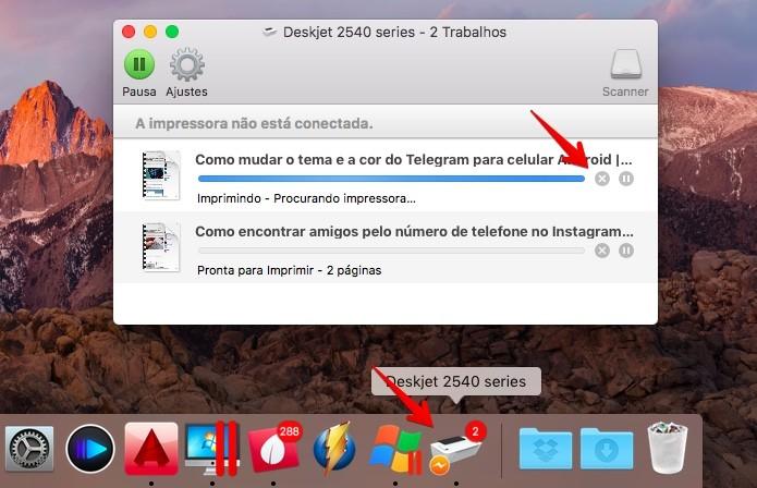 Gerenciando as impressões no macOS (Foto: Reprodução/Helito Bijora)