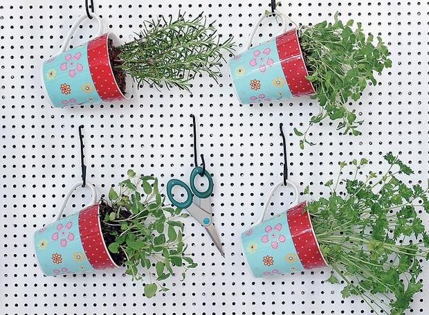 Essa dica é boa para ter em casa e dar de lembrança: mini-horta portátil de ervas plantadas em canecas (Foto: Rogério Voltan/Editora Globo)