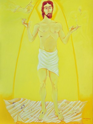 """""""Ressureição"""": no quadro, o artista representa a Santíssima Trindade (Foto: Divulgação/Raphael Ornella)"""