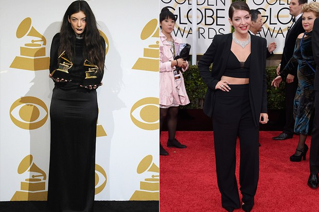 Globo de Ouro 2015 - Lorde  -Antes e Depois (Foto: Agência AFP - Agência Getty Images)
