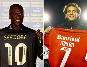 montagem Seedorf Forl&#225;n Botafogo Internacional (Foto: Editoria de Arte / Globoesporte.com)