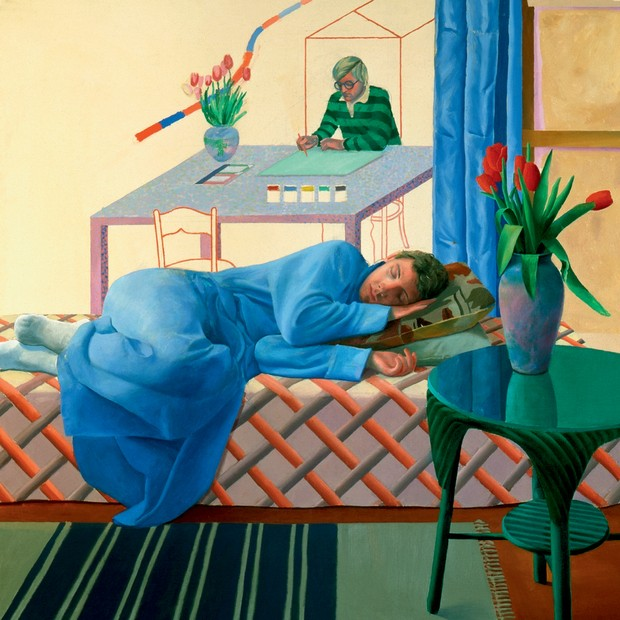 Model with Unfinished Self-Portrait (1977) (Foto: © David Hockney , Richard Schmidt, Coleção Walker Art Gallery, Divulgação/Tate Britain)