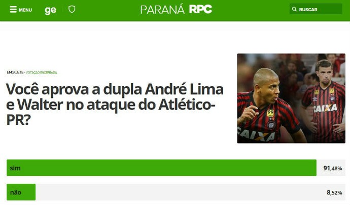 Enquete Walter André Lima (Foto: Reprodução/ GloboEsporte.com)