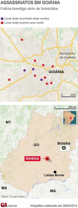 Mapa dos assassinatos em Goiás (Foto: Arte/ G1)
