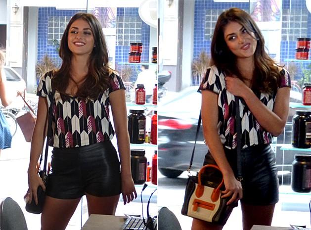 Estampa geométrica e couro de Jade (Foto: Malhação / TV Globo)