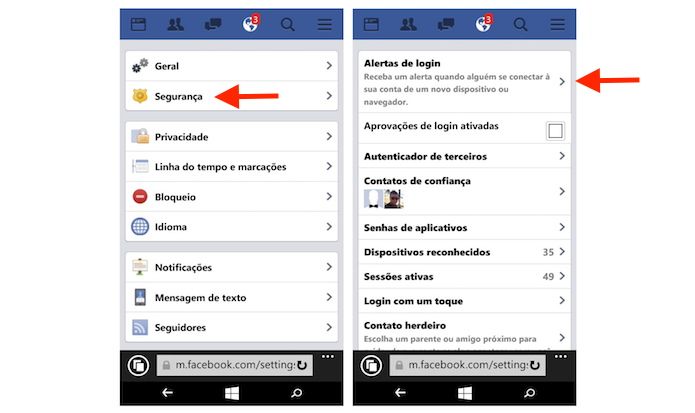 Acessando as opções de alertas de login do Facebook pelo Windows Phone (Foto: Reprodução/Marvin Costa)