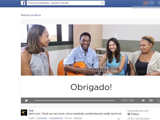 Ao lado da família, Pelé manda mensagem aos fãs em inglês e português (Foto: Reprodução Facebook)