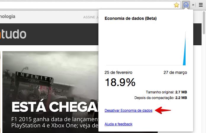 Menu da extensão permite acompanhar uso de dados (Foto: Reprodução/Helito Bijora)