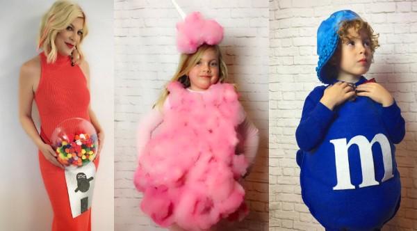 A atriz Tori Spelling fantasiada junto com seus filhos (Foto: Instagram)