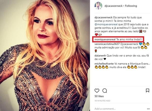 Cacá Werneck se declara para Monique Evans (Foto: Reprodução/Instagram)