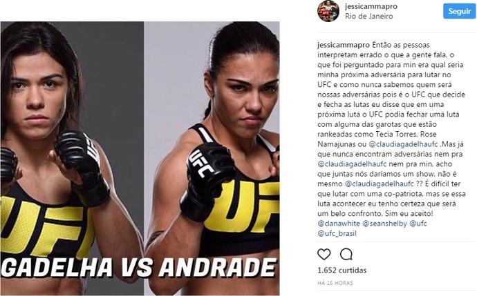 Jéssica Bate-Estaca x Cláudia Gadelha (Foto: Reprodução Instagram)