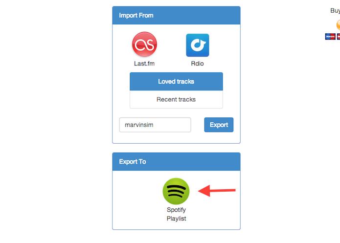 Clicando sobre o ícone do Spotify para importar uma lista do Last.fm através do Playlist Exchance (Foto: Reprodução/Marvin Costa)