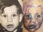 Ex-BBB Antônio faz tatuagem do rosto dele e do irmão na coxa