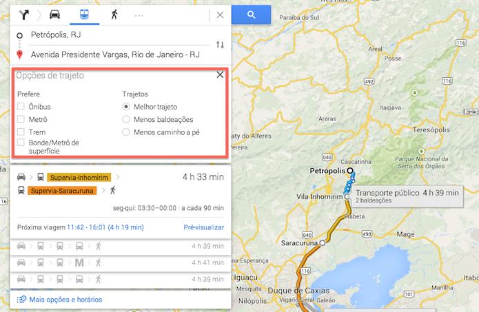 Definindo o meio de transporte e o trajeto adequado em uma rota criada através do Google Maps (Foto: Reprodução/Marvin Costa)