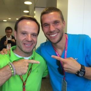 Barrichello e Podolski (Foto: instagram)