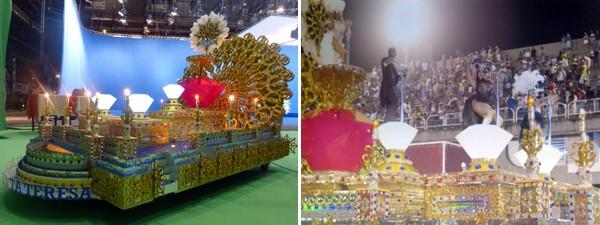 Antes, maquete carro alegórico dos diamantes / Depois, montagem pronta  (Foto: Gshow)