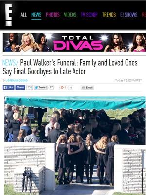 Site da rede 'E!' mostra imagem do funeral de Paul Walker (Foto: Reprodução / Site Eonline.com)
