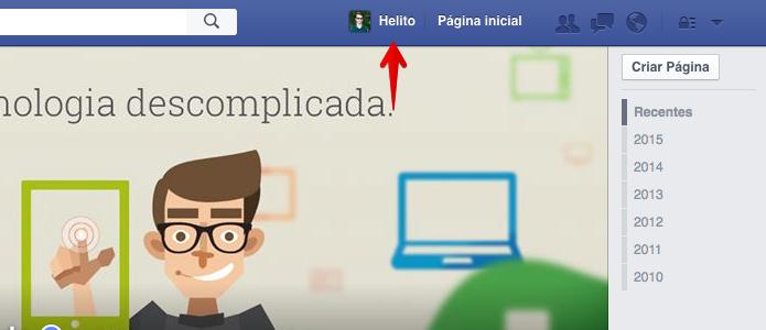 Acesse o seu perfil do Facebook (Foto: Reprodução/Helito Bijora)