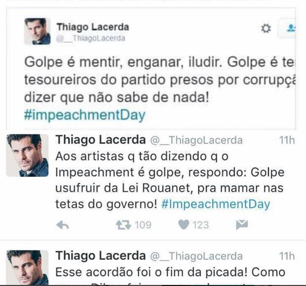 Posts do perfil falso de Thiago Lacerda (Foto: Reprodução)