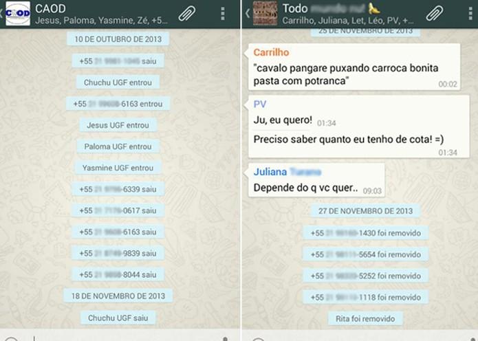 Usuários são expulsos de grupos do WhatsApp (Foto: Reprodução)