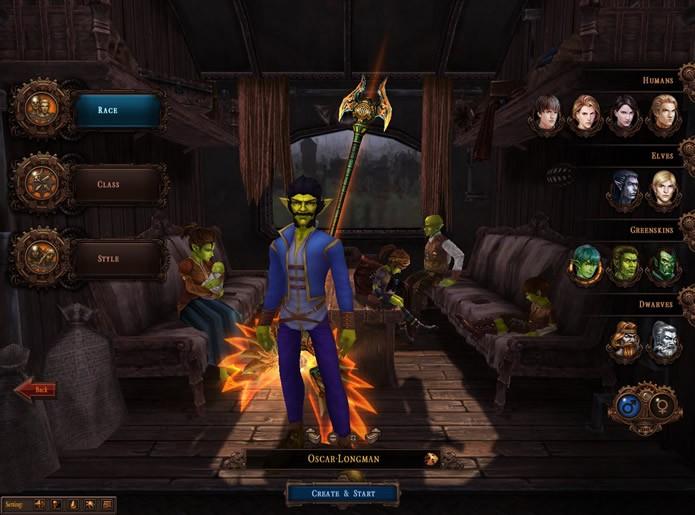 Em City of Steam: Arkadia você terá inúmeras opções para criar e personalizar o seu personagem (Foto: Reprodução/Daniel Ribeiro)