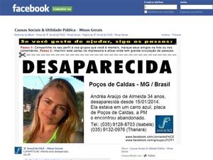 Amigos de servidora desaparecida fazem campanha por informações em Poços de Caldas (Foto: Reprodução Facebook)