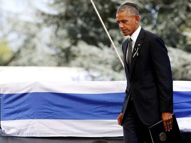 Presidente dos Estados Unidos, Barack Obama, participa de funeral do ex-presidente israelense Shimon Peres, nesta sexta-feira (30) (Foto: Baz Ratner/ Reuters)