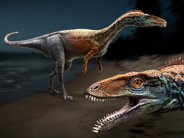 Ilustração reproduz dinossauro de 95 milhões de anos identificado no Maranhão (Foto: Rodolfo Nogueira/Divulgação)