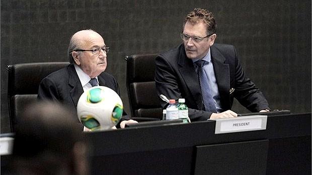 Blatter e Valcke em reunião da Fifa (Foto: Divulgação / FIFA.com)