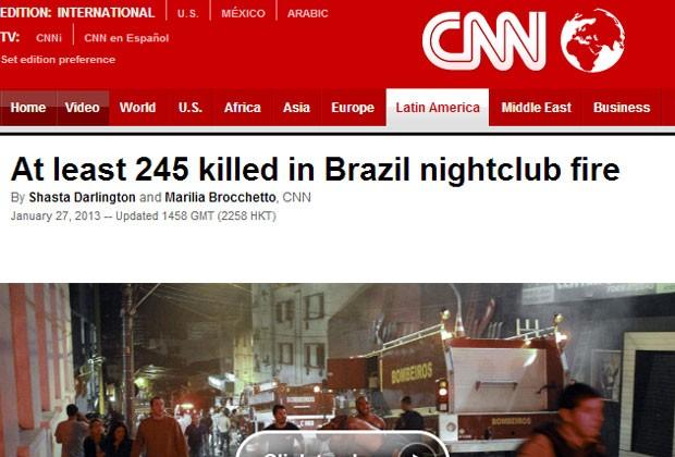 """A rede de TV americana """"CNN"""" relatou que o número de mortos não para de ser atualizado (Foto: Reprodução)"""