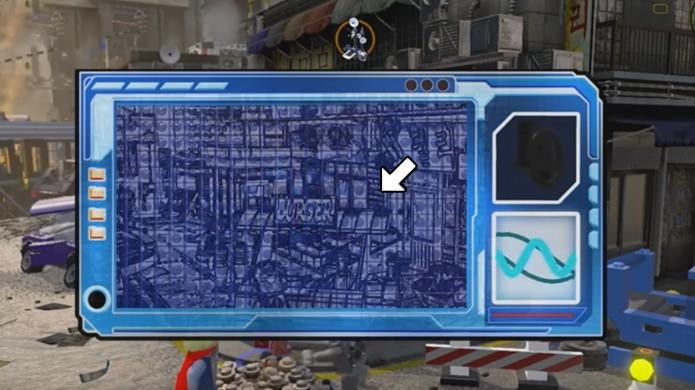 Utilize o scanner para revelar um objeto escondido na barraca de hambúrguer e em outros lugares de LEGO Avengers (Foto: Reprodução/Rafael Monteiro)