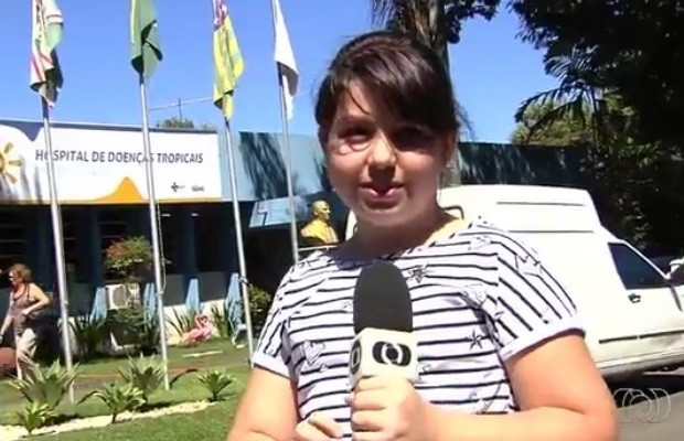 Letícia Guilarduce diz que Família doente por causa do Aedes inspirou redação em Goiás (Foto: Reprodução/TV Anhanguera)