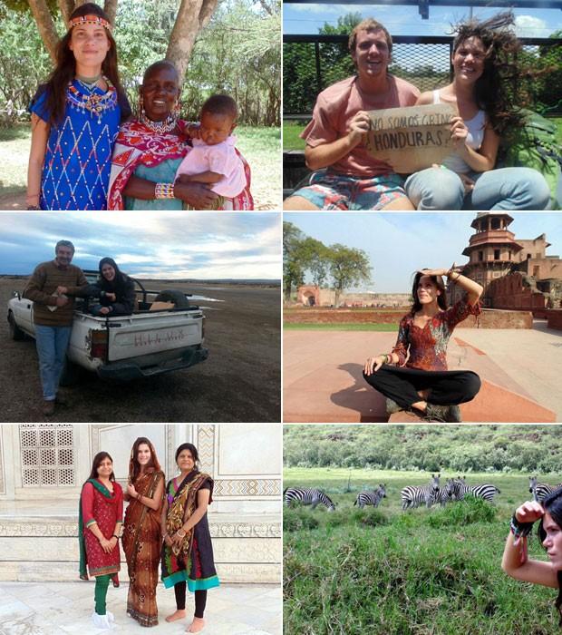 Alguns momentos da viagem de Kívia: com uma família queniana, com um amigo australiano na estrada, pegando carona na Patagônia, na Índia e em um parque no Quênia (Foto: Kívia Costa/Arquivo pessoal)