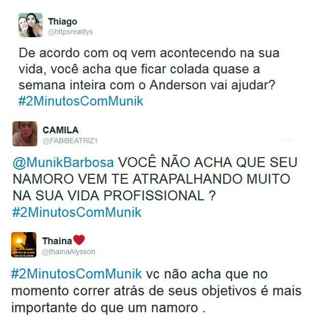 Fãs criticam namoro de Munik (Foto: Twitter / Divulgação)
