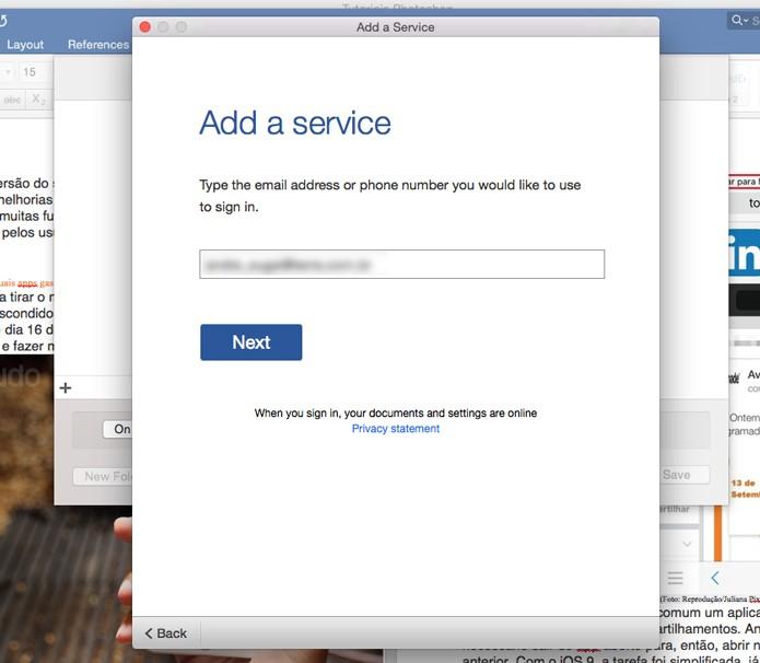 Informe seu e-mail ou telefone (Foto: Reprodução/André Sugai)