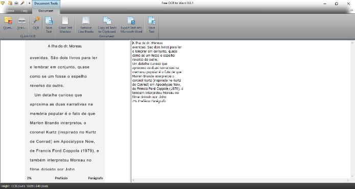 O Free OCR to Word permite exportar textos em .doc (Foto: Reprodução/Daniel Ribeiro)