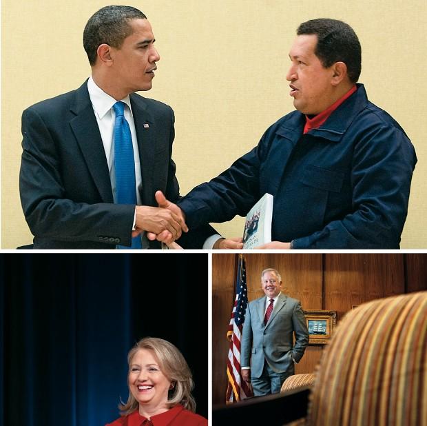 propaganda  e gratidão Barack Obama cumprimenta Hugo Chávez na Cúpula das Américas de 2009 (à esq.). Chávez presenteou Obama com um exemplar do livro As veias abertas da América Latina e ganhou a guerra da propaganda. Abaixo, Hillary Clinton, secretária d (Foto: Jim Watson/AFP, Saul Loeb/AFP  e Anderson Schneider/Ed. Globo)