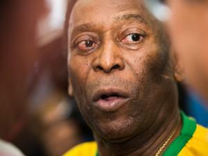 Sexta-feira (2) - Pelé participa da feira do agronegócio para divulgar campanha da CNA (Foto: Érico Andrade/G1)