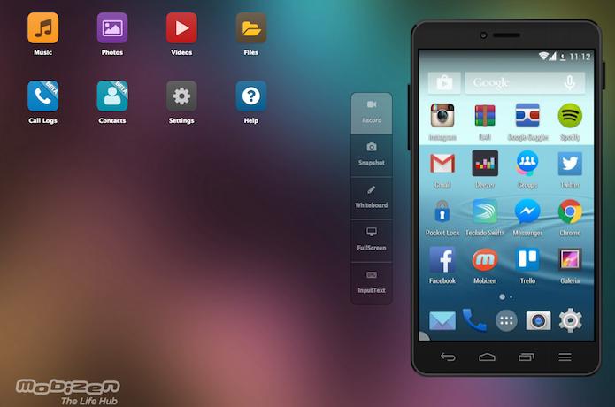 Dispositivo Android com tela espelhada no computador através do serviço Mobizen (Foto: Reprodução/Marvin Costa)