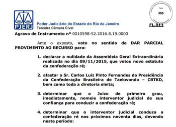Documento confederação brasileira de taekwondo (Foto: Reprodução)