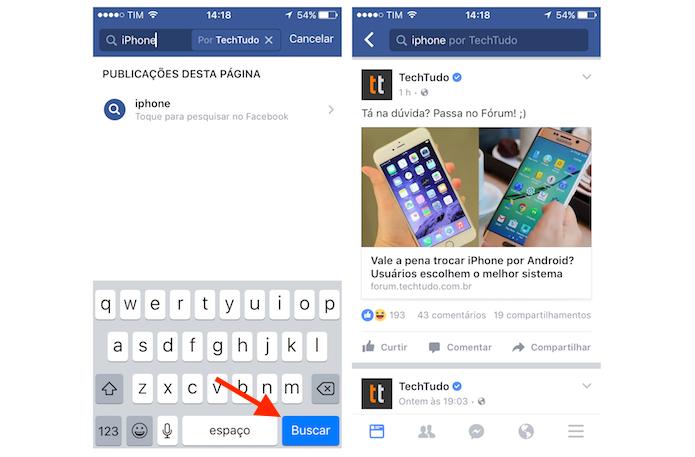 Pesquisando um termo em uma página do Facebook pelo iPhone (Foto: Reprodução/Marvin Costa)