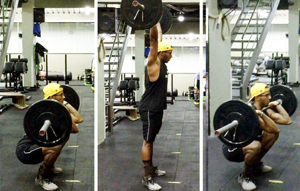 Ítalo Oliveira tem 23 anos e pratica crossfit há dois; ele executa o exercício thruster completo e com carga de 40kg (Foto: Eu Atleta)