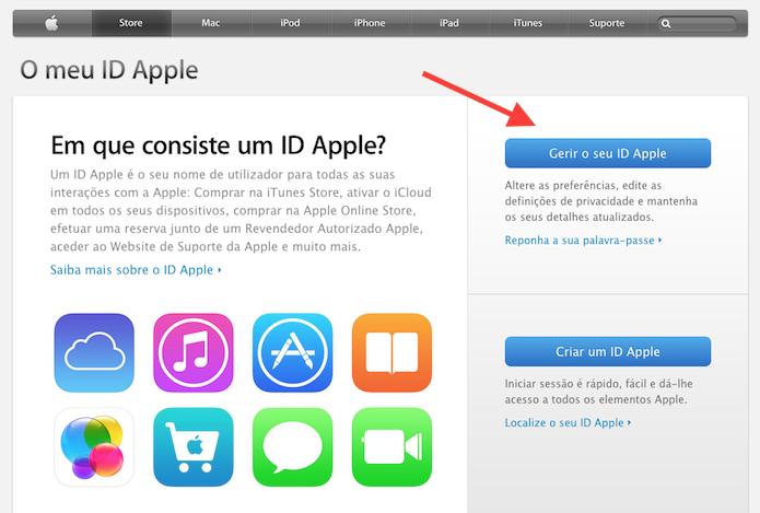 Acessando a página de gerenciamento de uma Apple ID (Foto: Reprodução/Marvin Costa)