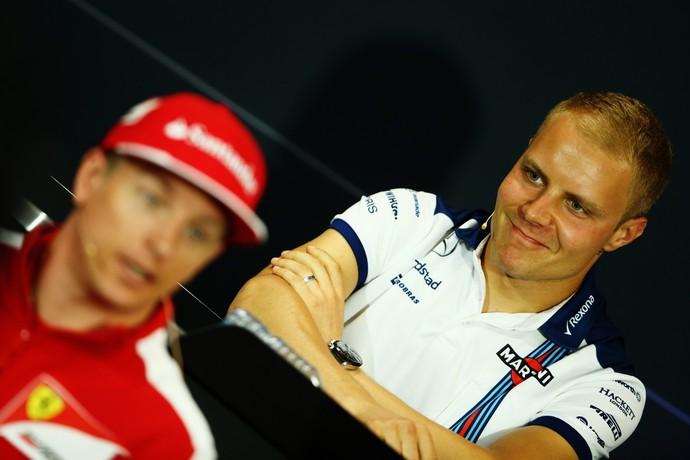 Valtteri Bottas e Kimi Raikkonen na coletiva de imprensa para o GP de Mônaco 2015 - Fórmula 1 (Foto: Getty Images)