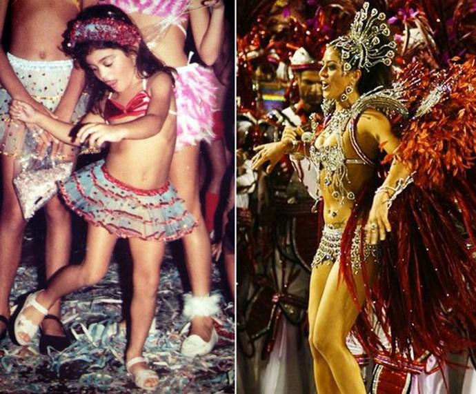 Carol Castro criança e como rainha de bateria do Salgueiro (Foto: Arquivo pessoal )