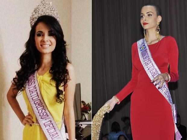 Miss Mato Grosso Jéssica Ferreira Rodrigues antes e depois. (Foto: Reprodução/ Instagram/ Claryssa Amorim/G1)