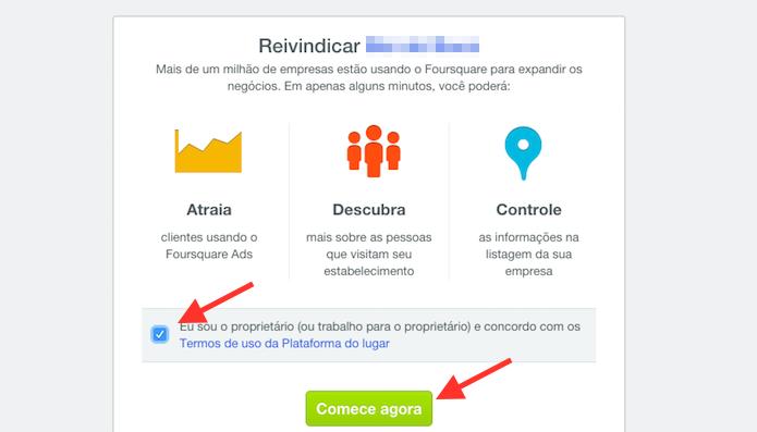 Aceitando os termos do Foursquare for business para reivindicar edições de uma página de restaurante ou loja (Foto: Reprodução/Marvin Costa)