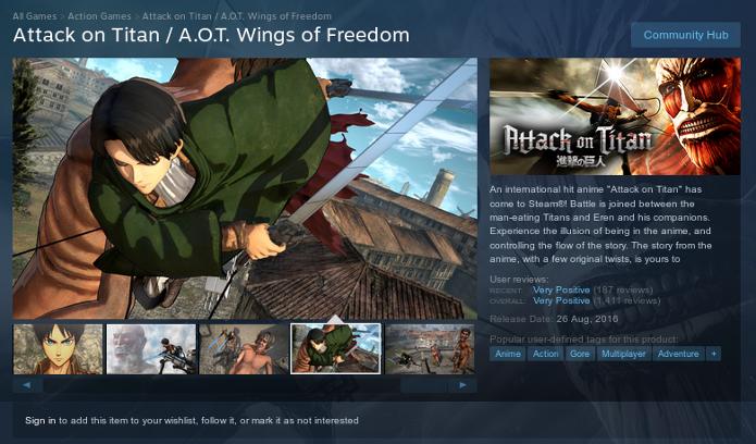 Página de Attack on Titan no Steam (Foto: Reprodução/Steam)