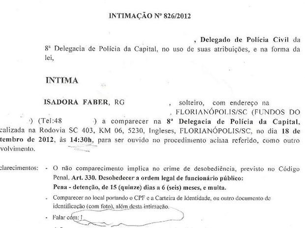 Isadora Faber foi intimada na segunda-feira (17) (Foto: Reprodução)
